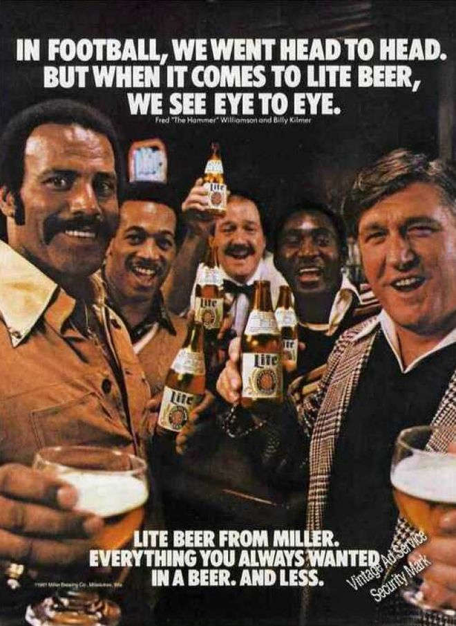 Miller ad to increase appeal to male markets. A big shift in their market strategy.